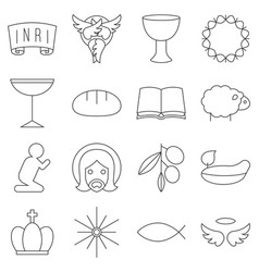 Christmas thin line icon set vector
