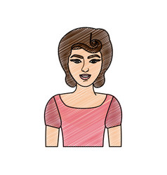 Color pencil drawing of half body woman with pin vector