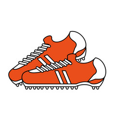Color silhouette with pair of soccer shoes vector