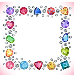 Colored gems square shape frame vector
