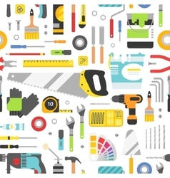 Construction tools icons seamless pattern vector image vector image