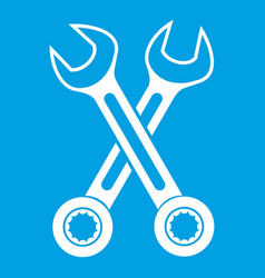 Crossed spanners icon white vector