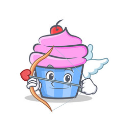Cupid cupcake character cartoon style vector