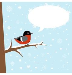 Cute winter bullfinch bird sitting vector image