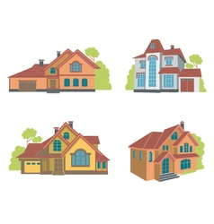 Flat houses set vector