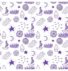 Hand drawn nautical seamless background vector image vector image