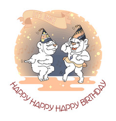 happy birthday card two funny cute bears are vector image vector image
