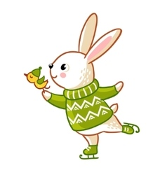 Hare in sweater skates vector