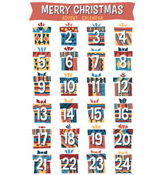 Hipster cartoon christmas advent calendar vector