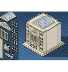 Isometric stock exchange building in new york wall vector