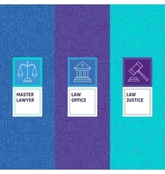 Line Law Justice Patterns Set vector image