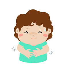 little boy having stomach ache cartoon vector image vector image