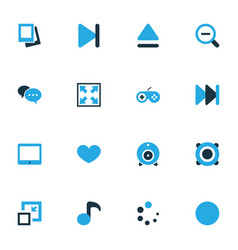 Media colorful icons set collection of amplifier vector