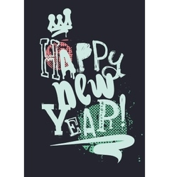Modern creative poster Happy New Year Grunge style vector image