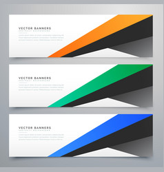 Modern geometric banners set of three vector