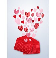 Open red envelope with cute hearts valentines day vector