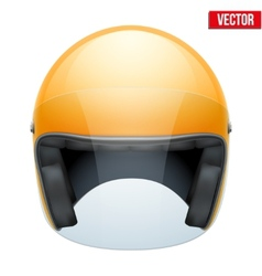 Orange motorbike classic helmet with clear glass vector