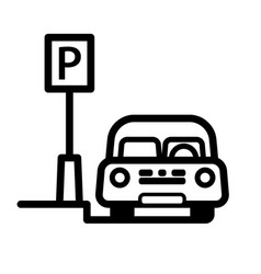 Passenger car parked at street side parking place vector