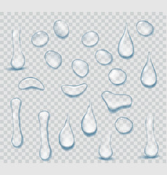pure clear water drops realistic set isolated on vector image
