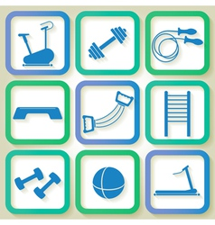 Set of 9 blue icons of the fintess club equipment vector