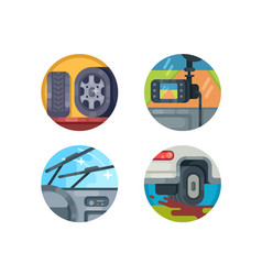set of auto icons vector image vector image