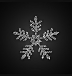 silver glitter snowflake vector image vector image