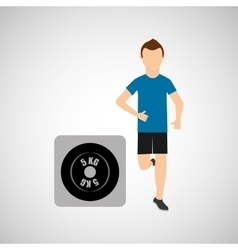 Sport man running weight graphic vector