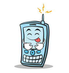 Tongue out phone character cartoon style vector