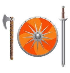 Viking weapon realistic vector image