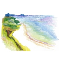 Watercolor river natural landscape vector
