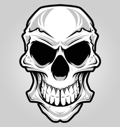 white angry skull vector image vector image