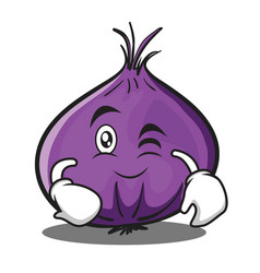 Wink red onion character cartoon vector