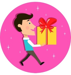 Young man carrying present gift box vector image
