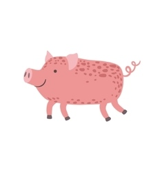 Pink piglet walking vector
