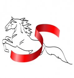 Horse and ribbon vector