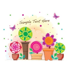 Funky flower pot vector