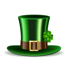 Green St Patricks Day hat with clover vector image