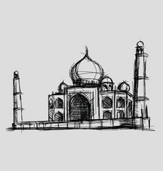 Taj mahal sketch drawing monument vector