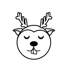 Face reindeer animal outline vector