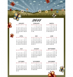 Floral calender for 2011 vector