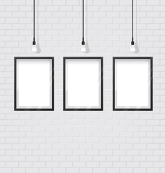 Black frame on brick wall vector