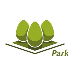 Spring park abstract symbol with bushes vector