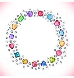 Colored gems square round frame vector