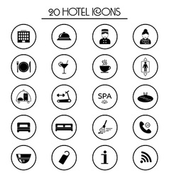 20 hotel services icons isolated vector