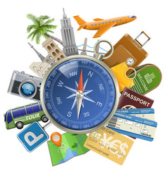 Tourism concept with compass vector