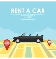 Rent a car pin pointer on map location vector