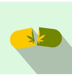 Medicine cannabis capsule icon flat style vector