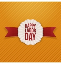 Happy labor day paper banner with red ribbon vector