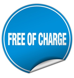 Free of charge round blue sticker isolated on vector