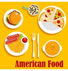 Fast food lunch of american cuisine flat icon vector